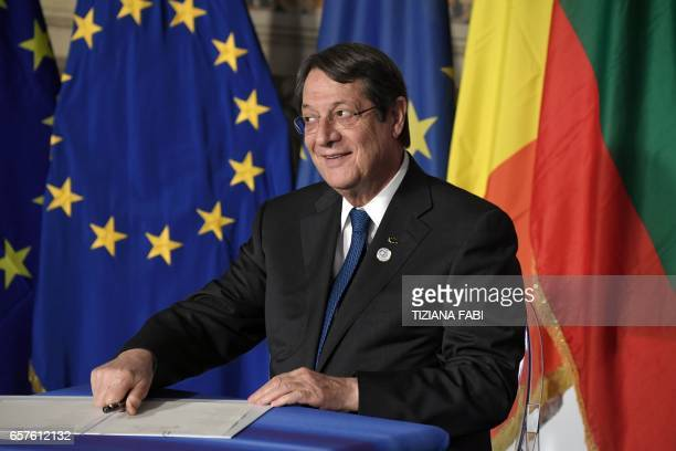 President of Cyprus Nicos Anastasiades signs the new Rome declaration with leaders of 27 European Union countries special during a summit of EU...