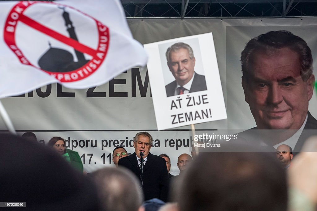President of Czech Republic <a gi-track='captionPersonalityLinkClicked' href=/galleries/search?phrase=Milos+Zeman&family=editorial&specificpeople=2595776 ng-click='$event.stopPropagation()'>Milos Zeman</a> speaks during the anti-islam rally on the 26th anniversary of the Velvet Revolution on November 17, 2015 in Prague, Czech Republic. In November, 1989, hundreds of thousands of people took to the streets of Prague and other cities across what was then still communist Czechoslovakia to demand political reforms and greater freedoms. The communist leadership soon crumbled and the playwright and human rights activist Vaclav Havel became president shortly thereafter.