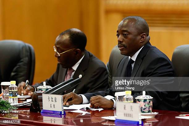 President Of Democratic Republic Of The Congo Joseph Kabila meets Chinese President Xi Jinping at The Great Hall Of The People on September 4 2015 in...