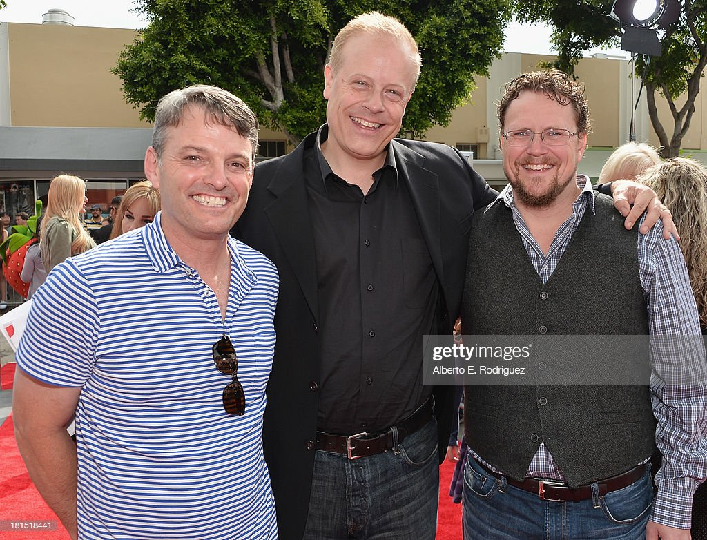President of digital production at Sony Pictures Animation Bob Osher, producer Kirk Bodyfelt and co-director Kris Pearn arrive to the premiere of Columbia Pictures and Sony Pictures Animation's 'Cloudy With A Chance of Meatballs 2' at the Regency Village Theatre on September 21, 2013 in Westwood, California.