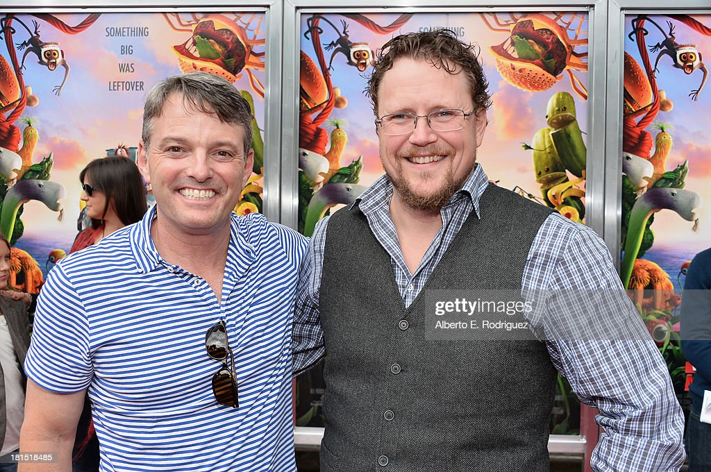 President of digital production at Sony Pictures Animation Bob Osher and co-director Kris Pearn arrive to the premiere of Columbia Pictures and Sony Pictures Animation's 'Cloudy With A Chance of Meatballs 2' at the Regency Village Theatre on September 21, 2013 in Westwood, California.