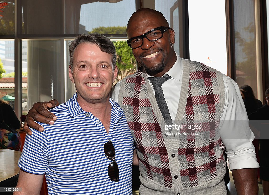 President of digital production at Sony Pictures Animations Bob Osher and actor <a gi-track='captionPersonalityLinkClicked' href=/galleries/search?phrase=Terry+Crews&family=editorial&specificpeople=569932 ng-click='$event.stopPropagation()'>Terry Crews</a> attend the after party for the premiere of Columbia Pictures and Sony Pictures Animation's 'Cloudy With A Chance Of Meatballs 2' at The Napa Valley Grille on September 21, 2013 in Westwood, California.
