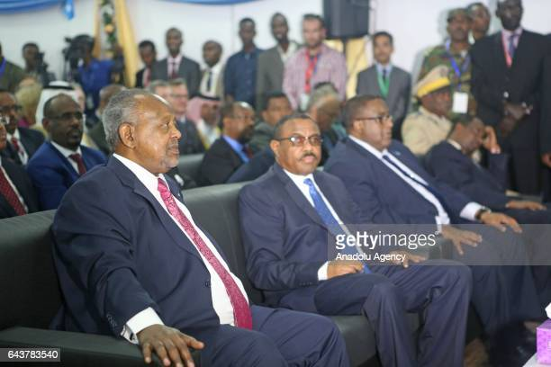 President of Djibouti Ismail Omar Guelleh and Prime Minister of Ethiopia Hailemariam Desalegn attend Somalia's new President Mohamed Abdullahi...
