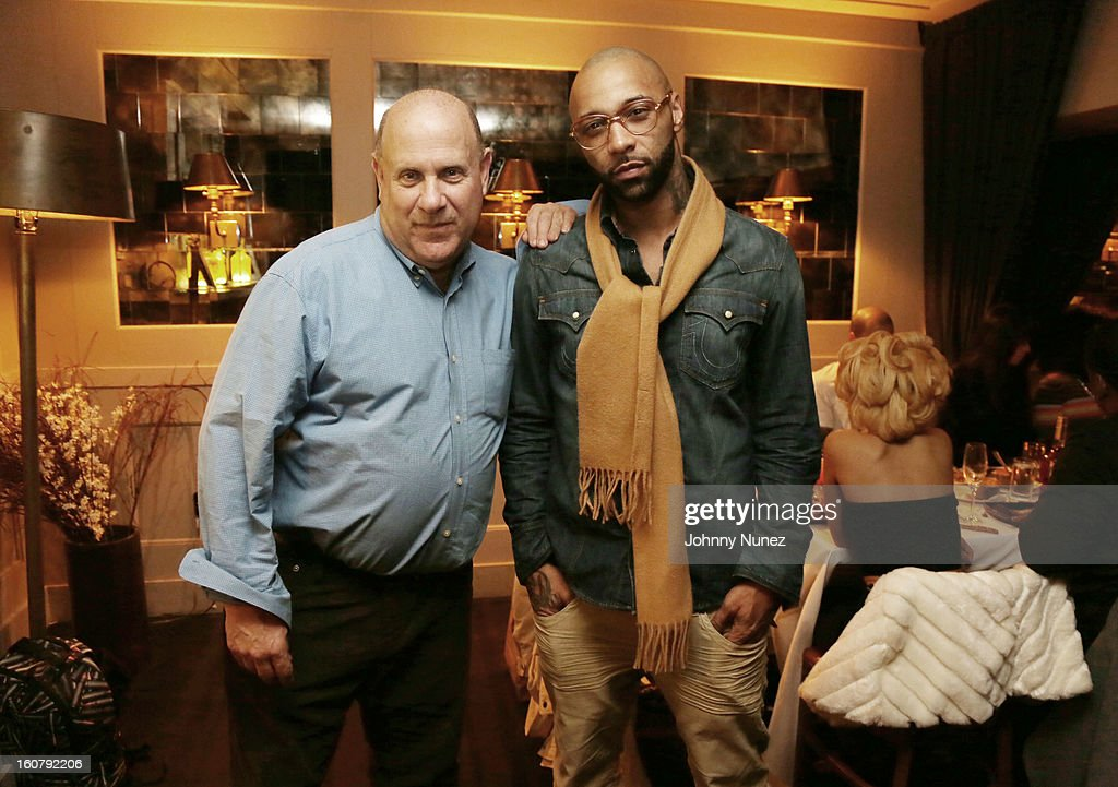 President of E1 Music Alan Grunblatt and Joe Budden attend Joe Budden's 'No Love Lost' album release dinner at Abe & Arthur's on February 5, 2013 in New York City.