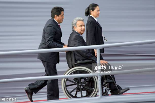 President of Ecuador Lenin Moreno and his wife Rocio Gonzalez arrive to Palacio de Gobierno during an official visit on May 09 2017 in Lima Peru