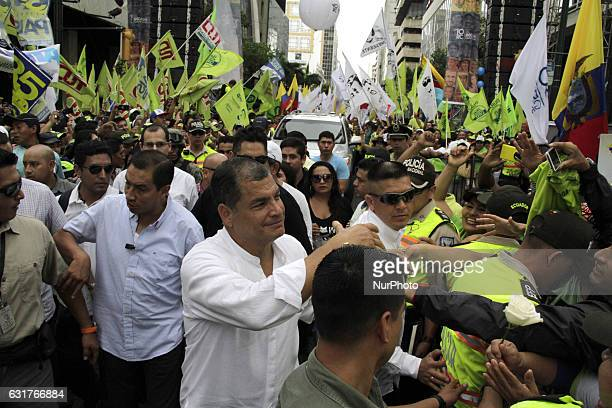 President of Ecuador Rafael Correa celebrates with the supporters of Alianza País the tenth anniversary of the citizen revolution denominated 'La...