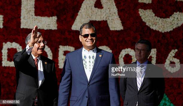 President of Ecuador Rafael Correa der welcomes the president of Dominican Republic's President Danilo Medina at the headquarters of Unasur for the...