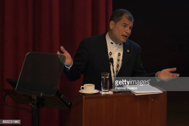 President of Ecuador Rafael Correa gestures during the conference 'Economy for Development Ecuador Case' at the Complutense University of Madrid on...