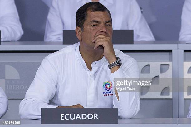 President of Ecuador Rafael Correa gestures during the opening ceremony of IberoAmerican Summit 2014 at World Trade Center on December 08 2014 in...