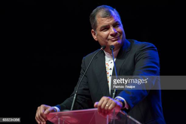 President of Ecuador Rafael Correa looks on during a cultural meeting with local ecuadorian residents at Barclays Center Arena on January 28 in...