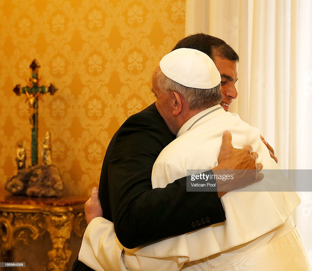 President of Ecuador <a gi-track='captionPersonalityLinkClicked' href=/galleries/search?phrase=Rafael+Correa&family=editorial&specificpeople=2294079 ng-click='$event.stopPropagation()'>Rafael Correa</a> meets with Pope Francis at his private library on April 19, 2013 in Vatican City, Vatican. The President of Ecuador met Pope Francis for talks about his country and the church's contribution to aspects of Ecuador's social challenges that lie ahead.
