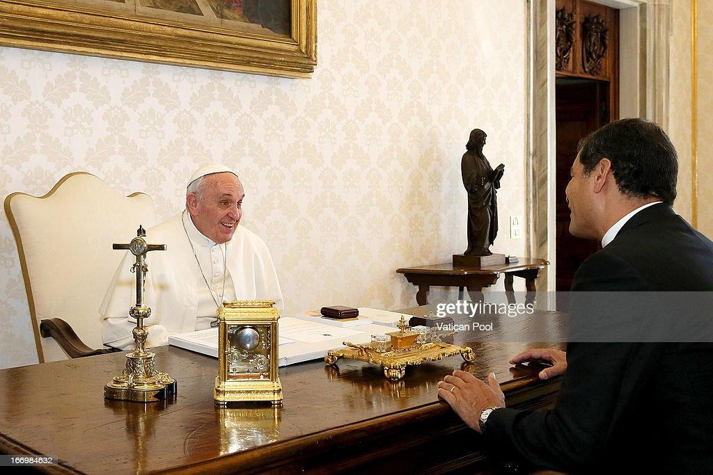 President of Ecuador Rafael Correa meets with Pope Francis at his private library on April 19, 2013 in Vatican City, Vatican. The President of Ecuador met Pope Francis for talks about his country and the church's contribution to aspects of Ecuador's social challenges that lie ahead.