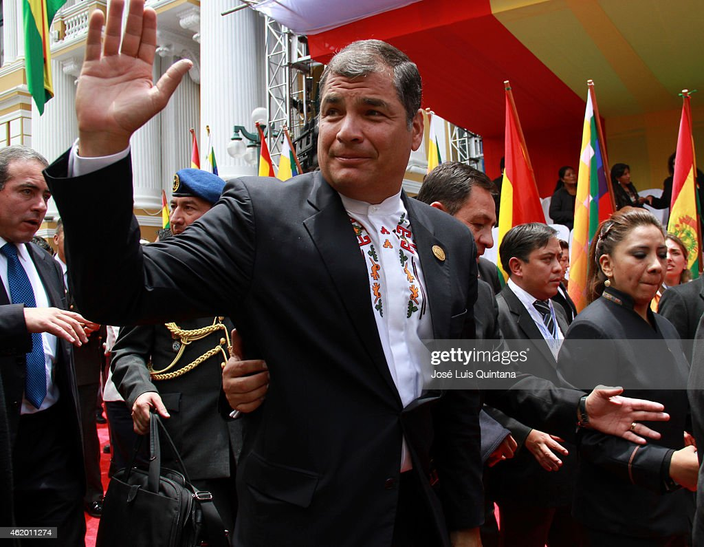 President of Ecuador, <a gi-track='captionPersonalityLinkClicked' href=/galleries/search?phrase=Rafael+Correa&family=editorial&specificpeople=2294079 ng-click='$event.stopPropagation()'>Rafael Correa</a>, waves leaving the Plurinational Legislative Assembly after the swearing in ceremony for the third term on January 22, 2015 in La Paz, Bolivia.