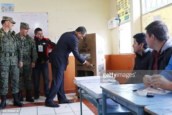 President of Ecuador Rafel Corea has voted to elect the new president of Ecuador at the San Francisco College of Quito where Correa voted and begins...