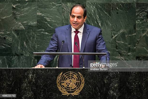 President of Egypt Abdel Fattah Al Sisi speaks at the 69th United Nations General Assembly at United Nations Headquarters on September 24 2014 in New...