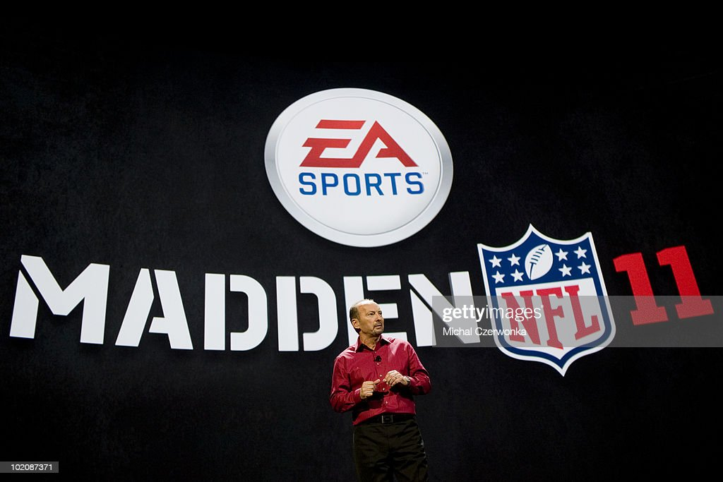 President of Electronic Arts Sports (EA Sports) Peter Moore introduces the new Madden 2011 football game at an EA press briefing ahead of the Electronic Entertainment Expo (E3) at the Orpheum Theater June 14, 2010 in Los Angeles, California. The annual video game trade conference and show at the Los Angeles Convention center runs from June 15-17.