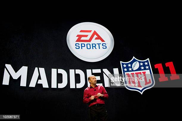 President of Electronic Arts Sports Peter Moore introduces the new Madden 2011 football game at an EA press briefing ahead of the Electronic...