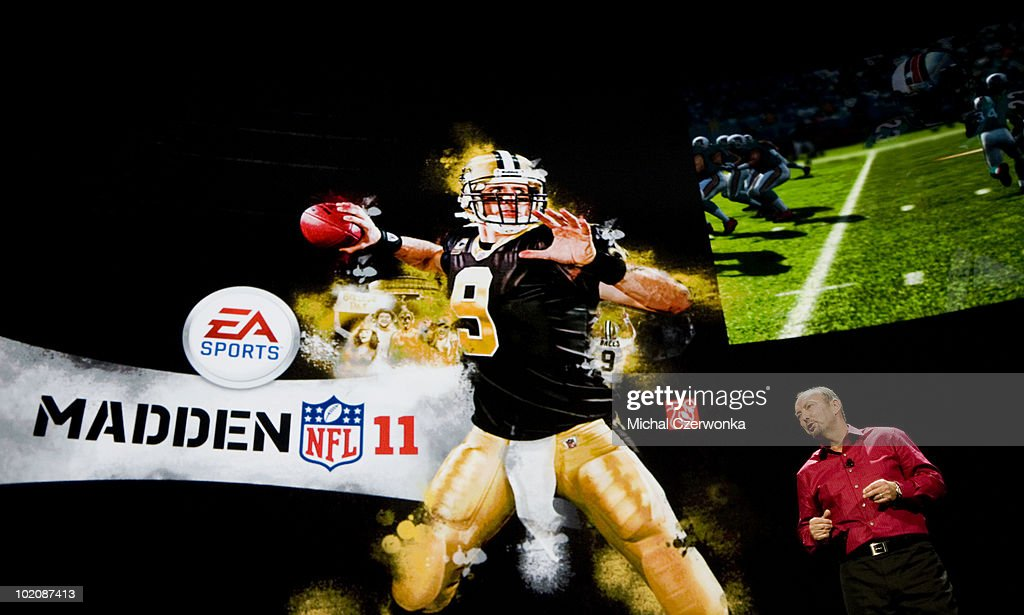 President of Electronic Arts Sports (EA Sports) Peter Moore introduces the new Madden 2011 football game at an EA press briefing ahead of the Electronic Entertainment Expo (E3) at the Orpheum Theater June 14, 2010 in Los Angeles, California. Quarterback Drew Brees is featured on the cover of the game. The annual video game trade conference and show at the Los Angeles Convention center runs from June 15-17.