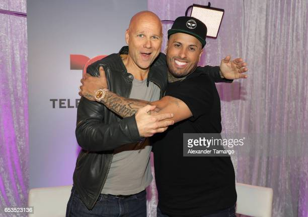 President of Endemol Shine Latino Laurence Drillich and Nicky Jam are seen at Telemundo Studios where Nicky Jam announced that Telemundo would be...