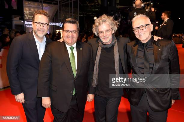 President of eOne Films Patrick Roy Mayor of Montreal Denis Coderre Francois Girard and Roger Frappier attend the 'Hochelaga Terre des Ames' premiere...