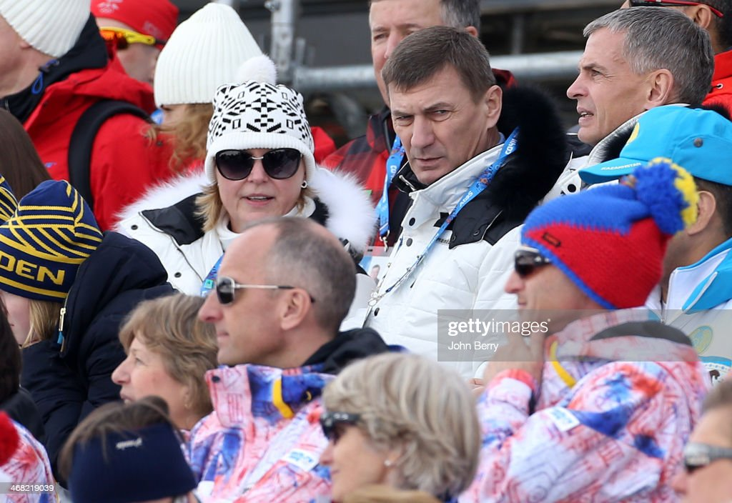 President of Estonia <a gi-track='captionPersonalityLinkClicked' href=/galleries/search?phrase=Andrus+Ansip&family=editorial&specificpeople=566399 ng-click='$event.stopPropagation()'>Andrus Ansip</a> and his wife Anu Ansip attend the Men's Skiathlon 15 km Classic + 15 km Free during day two of the Sochi 2014 Winter Olympics at Laura Cross-country Ski & Biathlon Center on February 9, 2014 in Sochi, Russia.