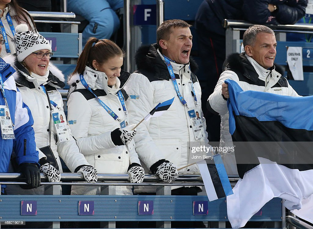 President of Estonia <a gi-track='captionPersonalityLinkClicked' href=/galleries/search?phrase=Andrus+Ansip&family=editorial&specificpeople=566399 ng-click='$event.stopPropagation()'>Andrus Ansip</a> with his wife Anu Ansip and his daughter Liisa Ansip attend the Biathlon Women's 7.5 km Sprint during day two of the Sochi 2014 Winter Olympics at Laura Cross-country Ski & Biathlon Center on February 9, 2014 in Sochi, Russia.