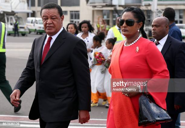 President of Ethiopia Mulatu Teshome Wirtu and his wife Meaza Abraham arrive to welcome President of India Ram Nath Kovind and his wife Savita Kovind...