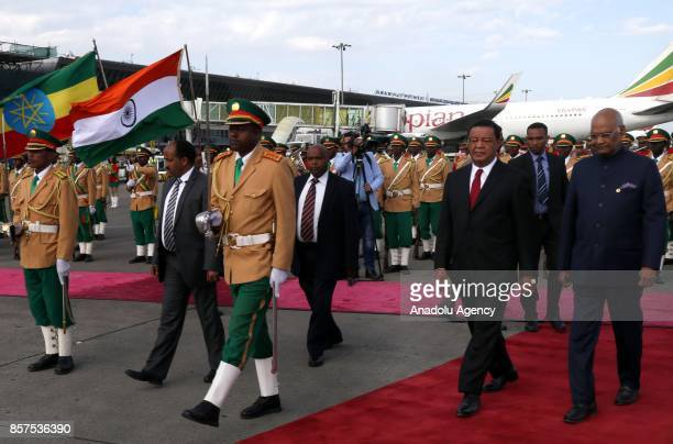 President of Ethiopia Mulatu Teshome Wirtu welcomes President of India Ram Nath Kovind during an official ceremony at Addis Ababa Bole International...