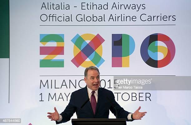 President of Etihad James Hogan make a speech at Malpensa Airport during the press conference on October 20 2014 in Milan Italy The press conference...