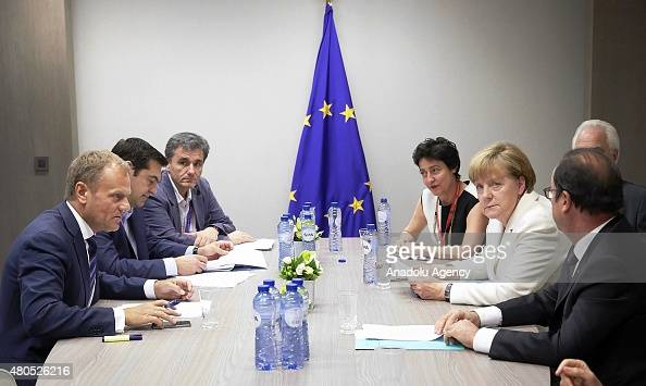 President of EU council Donald Tusk Greek Prime Minister Alexis Tsipras and Greek Finance Minister Euclid Tsakalotos attend a meeting ahead of...