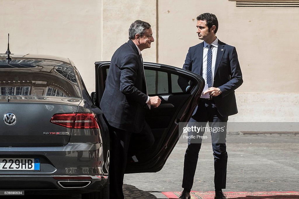 President of European Central Bank, ECB, <a gi-track='captionPersonalityLinkClicked' href=/galleries/search?phrase=Mario+Draghi&family=editorial&specificpeople=571678 ng-click='$event.stopPropagation()'>Mario Draghi</a> arrives at the Apostolic Palace to attend a a ceremony to give Pope Francis the International Charlemagne Prize. The Charlemagne Prize is one of the most prestigious European prizes. Pope Francis was selected to be the 2016 recipient of Germany's Charlemagne Prize for his commitment in promoting European unity.