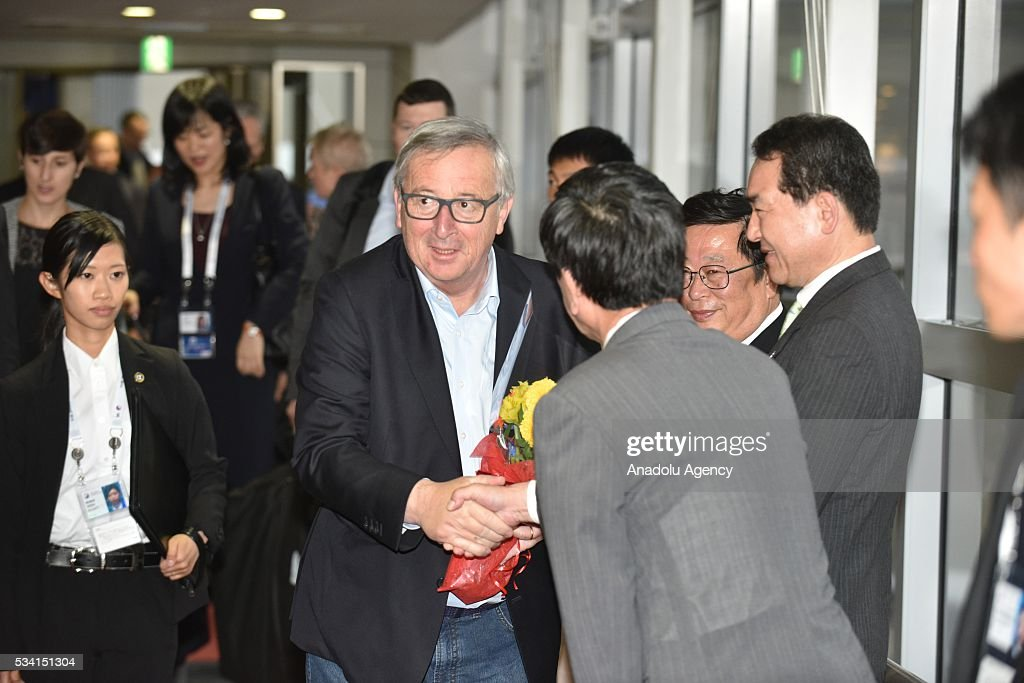 President Of European Commission Jean-Claude Juncker arrives in Nagoya, Aichi Prefecture, central Japan, 25 May 2016.