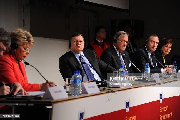 President of European Commission Jose Manuel Barroso and European Commissioner responsible for Justice Viviane Reding speak during European Roma...