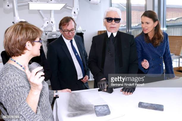 President of Fashion Activities at Chanel Bruno Pavlovsky Fashion designer Karl Lagerfeld and French Culture Minister Aurelie Filippetti at the...