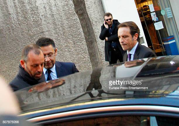 President of FC Barcelona Josep Bartomeu and former president Sandro Rosell are seen leaving a restaurant after attending National Court to declare...
