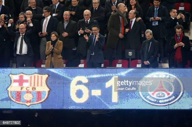 President of FC Barcelona Josep Maria Bartomeu celebrates the victory 61 following the UEFA Champions League Round of 16 second leg match between FC...