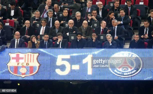 President of FC Barcelona Josep Maria Bartomeu President of PSG Nasser AlKhelaifi Director of Football of PSG Patrick Kluivert attend the UEFA...