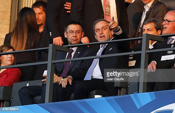 President of FC Barcelona Josep Maria Bartomeu UEFA President Michel Platini attend the UEFA Champions League Final between Juventus Turin and FC...