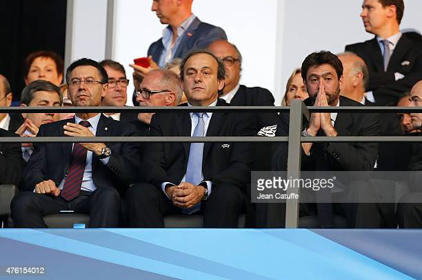 President of FC Barcelona Josep Maria Bartomeu UEFA President Michel Platini President of Juventus Turin Andrea Agnelli attend the UEFA Champions...