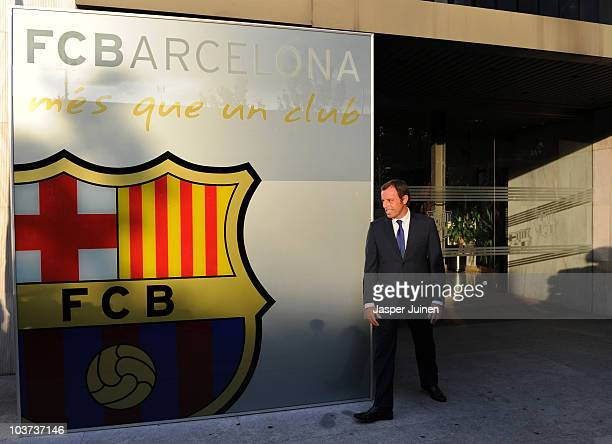 President of FC Barcelona Sandro Rosell passes in front of the clubs offices at the Camp Nou stadium on August 30 2010 in Barcelona Spain