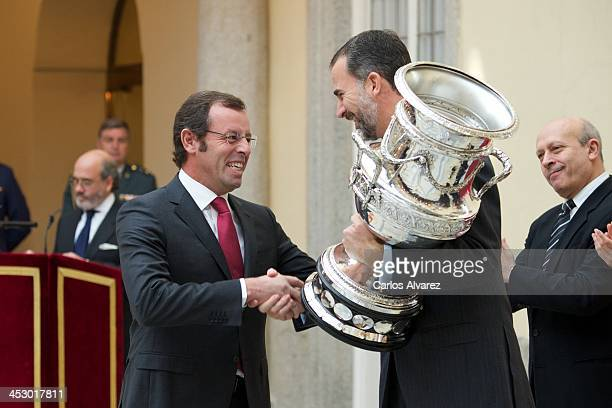 President of FC Barcelona Sandro Rosell receives from Prince Felipe of Spain the Copa Stadium Award during the Spanish National Sports Awards 2013 at...