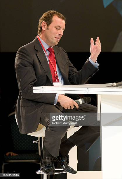 President of FC Barcelona Sandro Rosell speaks at a forum on 'FC Barcelona more than a club' at the Global Sports Forum 2011 held at the Palau de...