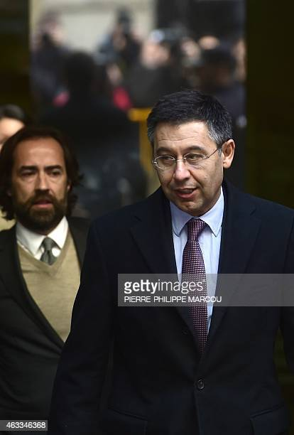 President of FC Barcelona Spanish football club Josep Maria Bartomeu leaves the National High Court in Madrid on February 13 2015 Barcelona's...