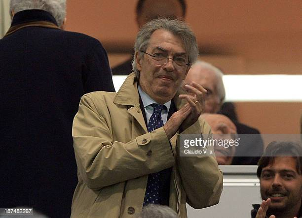 President of FC Inter Milan Massimo Moratti attends the Serie A match between FC Internazionale Milano and AS Livorno Calcio at San Siro Stadium on...