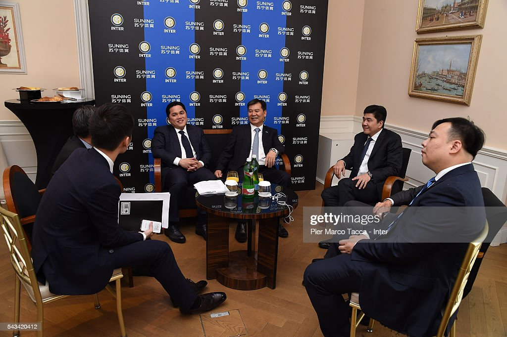 President of FC Internazionale <a gi-track='captionPersonalityLinkClicked' href=/galleries/search?phrase=Erick+Thohir&family=editorial&specificpeople=9531719 ng-click='$event.stopPropagation()'>Erick Thohir</a> and Chairman of Suning Holdings Group, Zhang Jindong attend a FC Internazionale Shareholder's Meeting on June 28, 2016 in Milan, Italy.