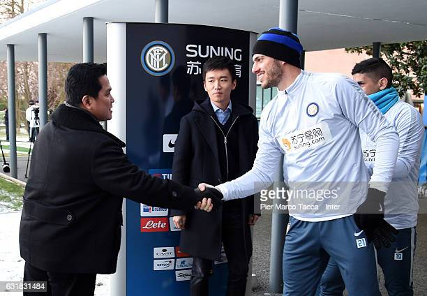 President of FC Internazionale Erick Thohir and Davide Santon attend a FC Internazionale training session at Appiano Gentile on January 16 2017 in...