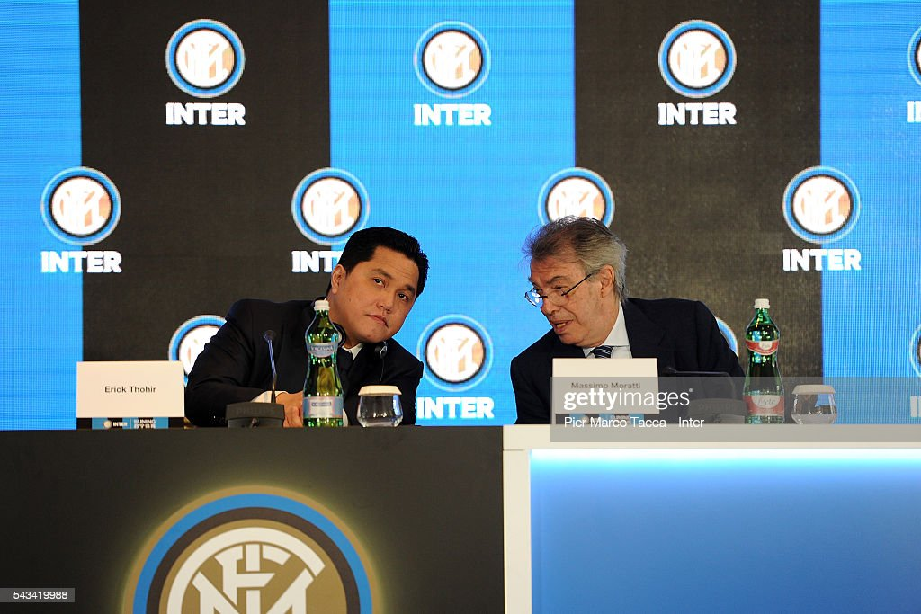 President of FC Internazionale <a gi-track='captionPersonalityLinkClicked' href=/galleries/search?phrase=Erick+Thohir&family=editorial&specificpeople=9531719 ng-click='$event.stopPropagation()'>Erick Thohir</a> and Former President of FC Internazionale, <a gi-track='captionPersonalityLinkClicked' href=/galleries/search?phrase=Massimo+Moratti&family=editorial&specificpeople=2726881 ng-click='$event.stopPropagation()'>Massimo Moratti</a> speak during the FC Internazionale Shareholder's Meeting on June 28, 2016 in Milan, Italy.