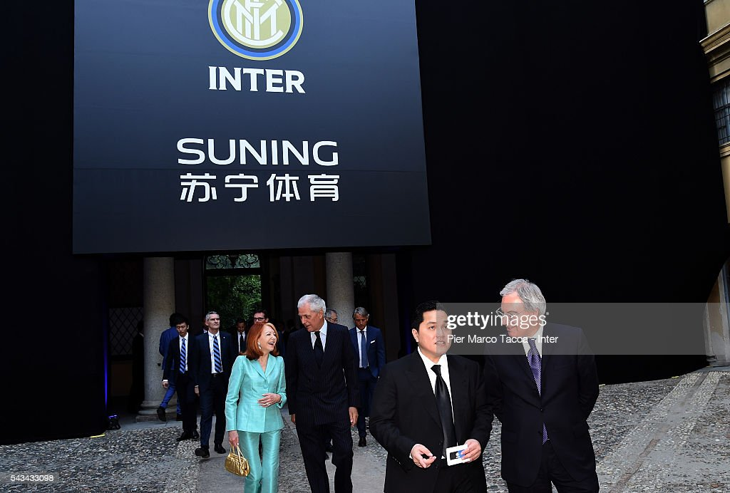President of FC Internazionale <a gi-track='captionPersonalityLinkClicked' href=/galleries/search?phrase=Erick+Thohir&family=editorial&specificpeople=9531719 ng-click='$event.stopPropagation()'>Erick Thohir</a> and Maurizio Beretta attend a gala dinner at the end of the FC Internazionale Shareholder's Meeting on June 28, 2016 in Milan, Italy.