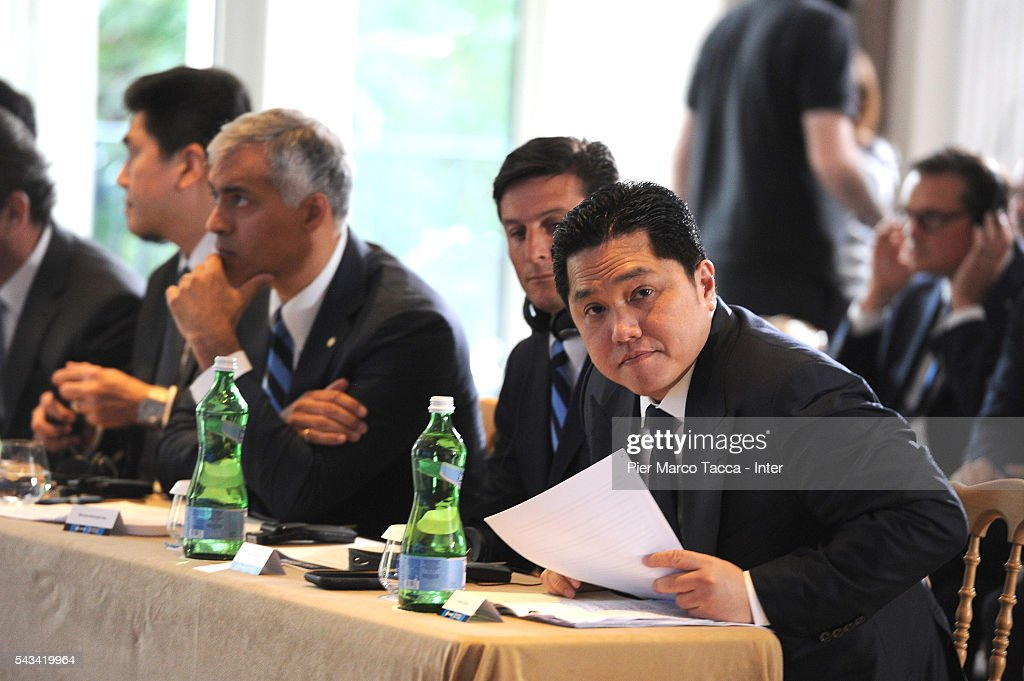 President of FC Internazionale <a gi-track='captionPersonalityLinkClicked' href=/galleries/search?phrase=Erick+Thohir&family=editorial&specificpeople=9531719 ng-click='$event.stopPropagation()'>Erick Thohir</a> attends a FC Internazionale Shareholder's Meeting on June 28, 2016 in Milan, Italy.