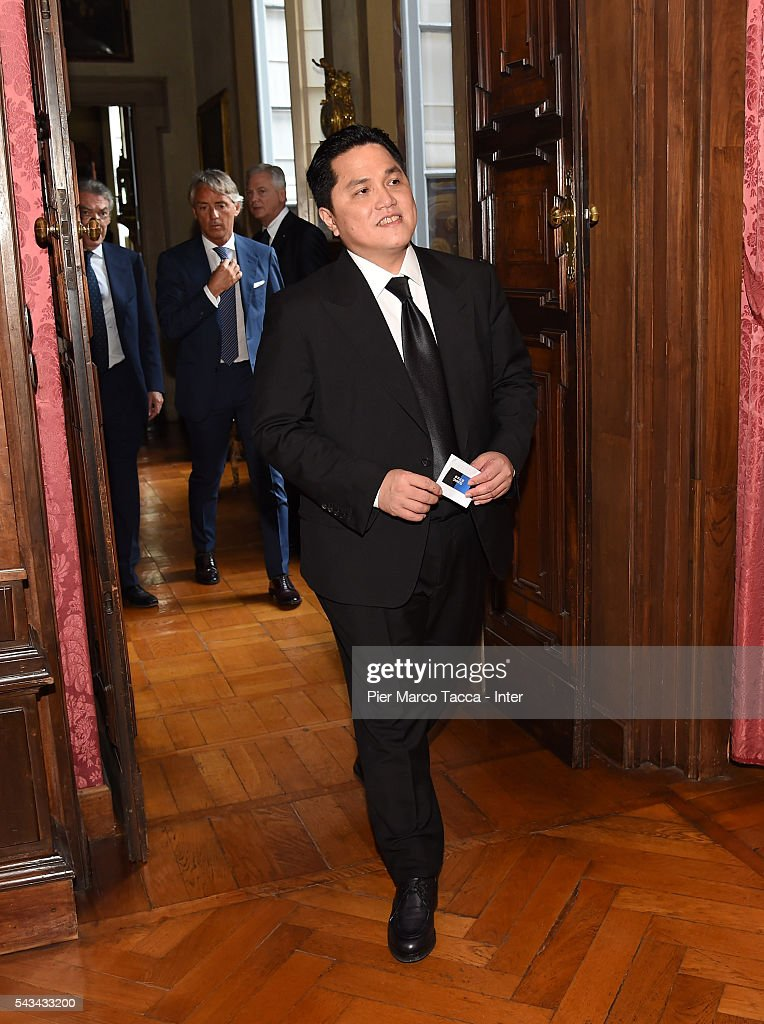 President of FC Internazionale <a gi-track='captionPersonalityLinkClicked' href=/galleries/search?phrase=Erick+Thohir&family=editorial&specificpeople=9531719 ng-click='$event.stopPropagation()'>Erick Thohir</a> attends a gala dinner at the end of the FC Internazionale Shareholder's Meeting on June 28, 2016 in Milan, Italy.